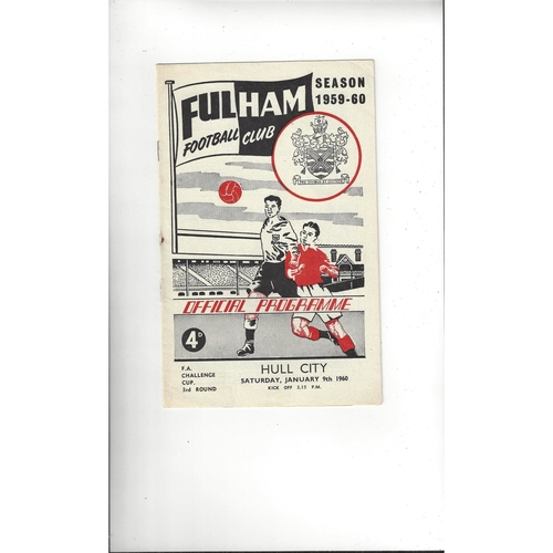 1959/60 Fulham v Hull City FA Cup Football Programme