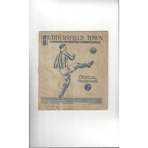1937/38 Huddersfield Town v Manchester City Football Programme