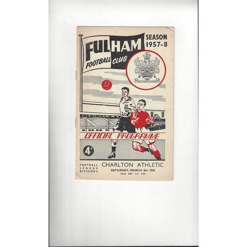 1957/58 Fulham v Charlton Athletic Football Programme