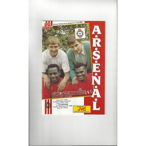 Arsenal v Liverpool Mercantile Credit Football Programme 1988/89