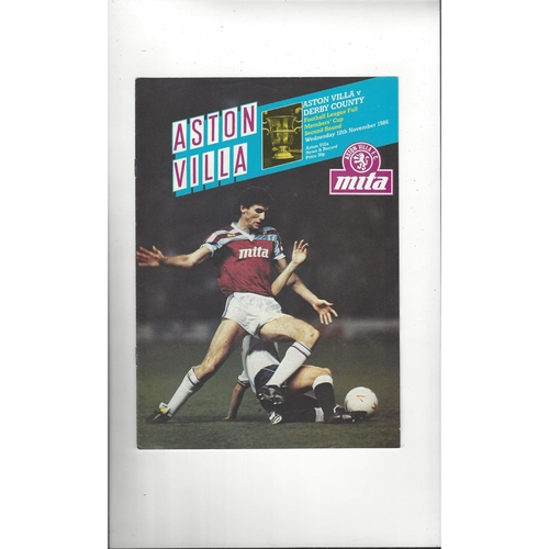 Aston Villa v Derby County Full Members Cup Football Programme 1986/87
