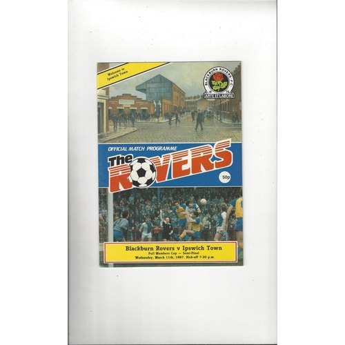 Blackburn Rovers v Ipswich Town Full Members Cup Football Programme 1986/87