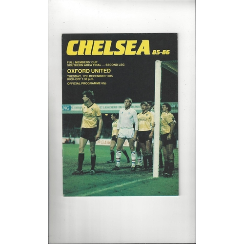 Chelsea v Oxford United Full Members Cup Football Programme 1985/86