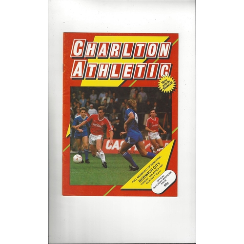 Charlton Athletic v Norwich City Full Members Cup Football Programme 1986/87