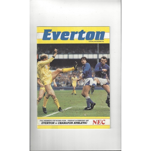 Everton v Charlton Athletic Full Members Cup Football Programme 1986/87