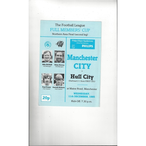 Manchester City v Hull City Full Members Cup Football Programme 1985/86