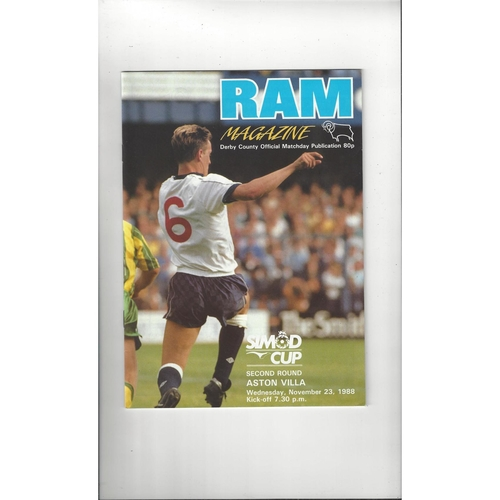 Derby County v Aston Villa Simod Cup Football Programme 1988/89