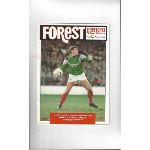 Nottingham Forest v Crystal Palace Simod Cup Football Programme 1988/89