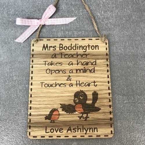 Robin Teacher plaque