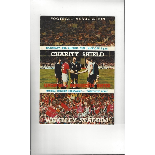 1977 Liverpool v Manchester United Charity Shield Football Programme