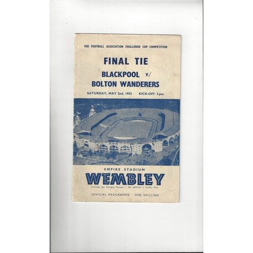1953 Blackpool v Bolton Wanderers FA Cup Final Football Programme