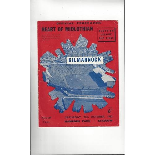 1962 Hearts v Kilmarnock Scottish League Cup Final Football Programme