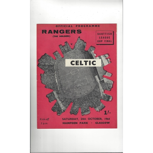1964 Rangers v Celtic Scottish League Cup Final Football Programme