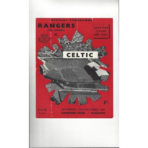 1965 Rangers v Celtic Scottish League Cup Final Football Programme