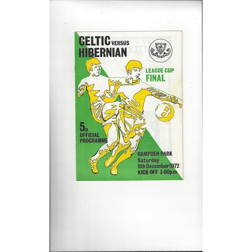 1972 Celtic v Hibernian Scottish League Cup Final Football Programme