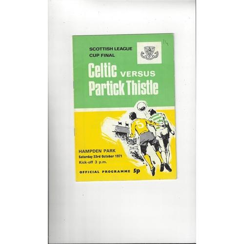1971 Celtic v Partick Thistle Scottish League Cup Final Football Programme