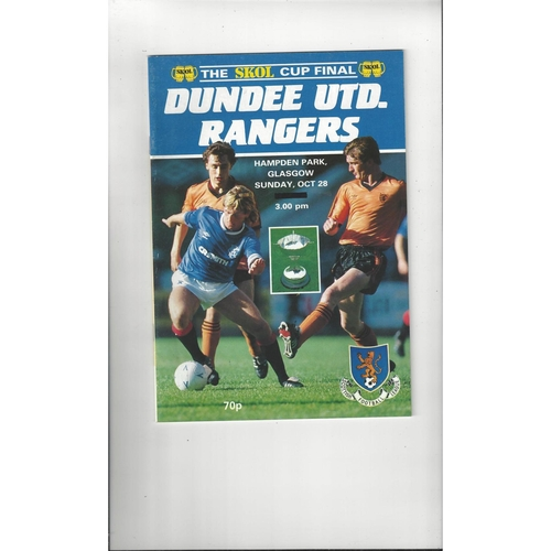 1984 Dundee United v Rangers Scottish League Cup Final Football Programme Oct