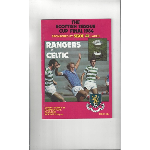 1984 Rangers v Celtic Scottish League Cup Final Football Programme March