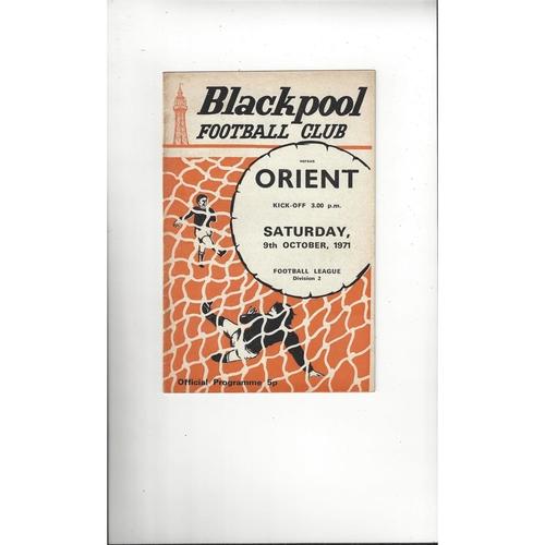 1971/72 Blackpool v Leyton Orient Football Programme