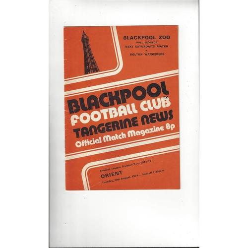1974/75 Blackpool v Leyton Orient Football Programme