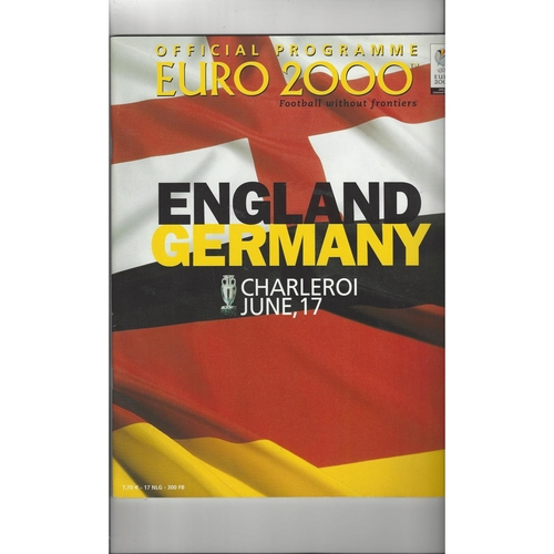 Euro 2000 England v Germany Football Programme