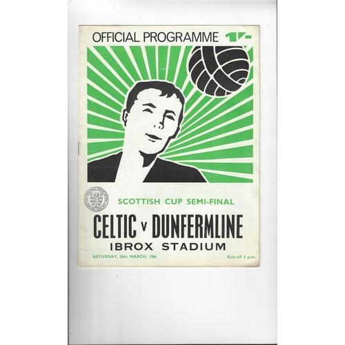 1966 Celtic v Dunfermline Athletic Scottish Cup Semi Final Football Programme