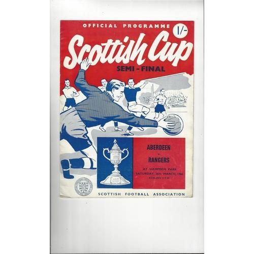 1966 Aberdeen v Rangers Scottish Cup Semi Final Football Programme