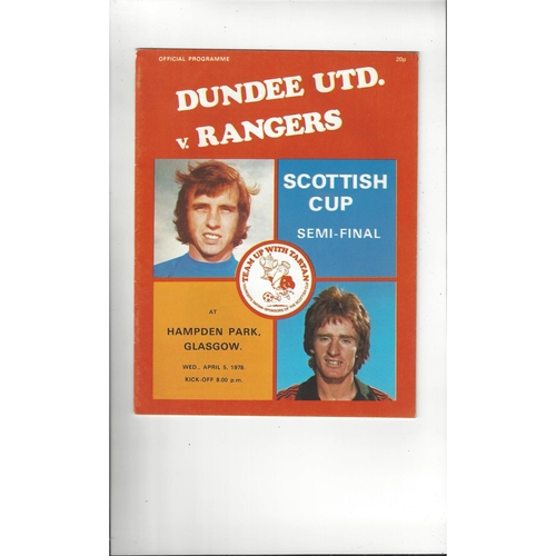 1978 Dundee United v Rangers Scottish Cup Semi Final Football Programme