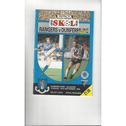 1989/90 Rangers v Dunfermline Scottish League Cup Semi Final Replay Programme