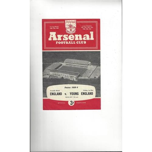 1958/59 England v Young England Football Programme@ Arsenal