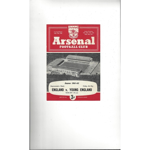 England v Young England Football Programmes