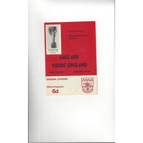 1967/68 England v Young England Football Programme @ Arsenal