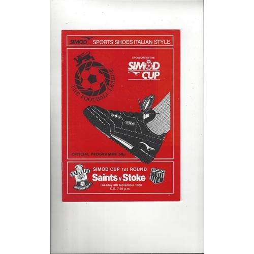 Southampton v Stoke City Simod Cup Football Programme 1988/89