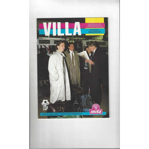 Aston Villa v Middlesbrough Zenith Data Area Final Football Programme 1989/90