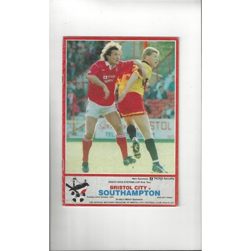 Bristol City v Southampton Zenith Data Football Programme 1991/92