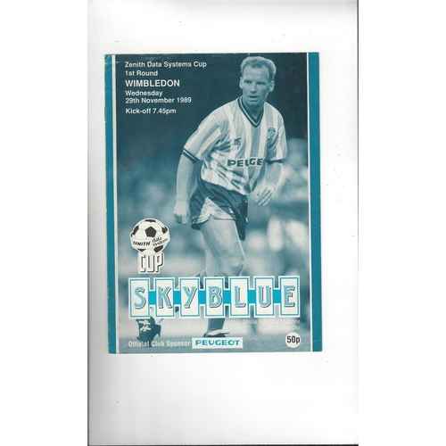 Coventry City v Wimbledon Zenith Data Football Programme 1989/90