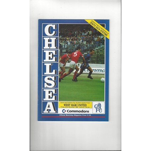 Chelsea v West Ham United Zenith Data Football Programme 1989/90