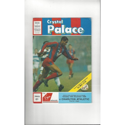Crystal Palace v Charlton Athletic Zenith Data Football Programme 1989/90