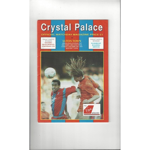 Crystal Palace v Luton Town Zenith Data Semi Final Football Programme 1990/91