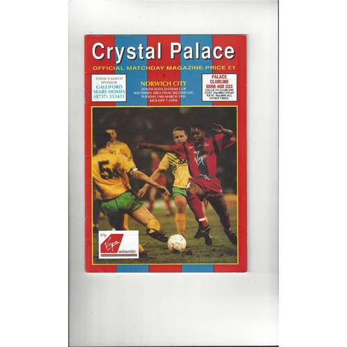 Crystal Palace v Norwich City Zenith Data Area Final Football Programme 1990/91