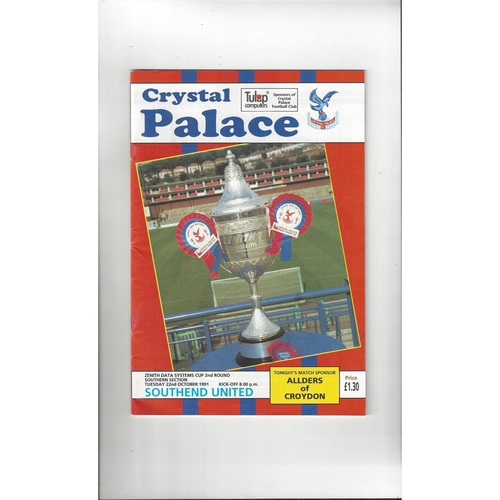 Crystal Palace v Southend United Zenith Data Football Programme 1991/92