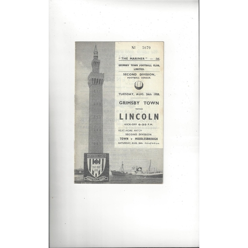 1958/59 Grimsby Town v Lincoln City Football Programme