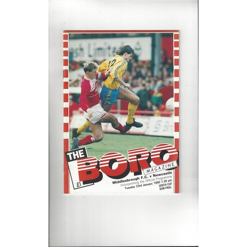 Middlesbrough v Newcastle United Zenith Data Semi Final Football Programme 1989/90
