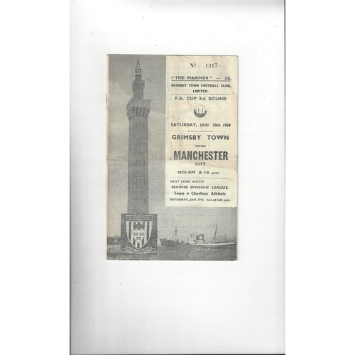 1958/59 Grimsby Town v Manchester City FA Cup Football Programme