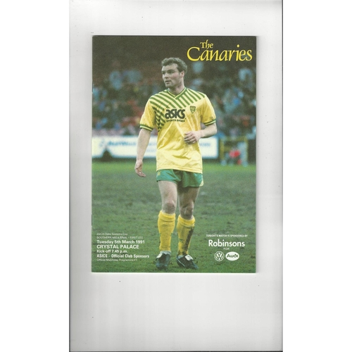 Norwich City v Crystal Palace Zenith Data Area Final Football Programme 1990/91