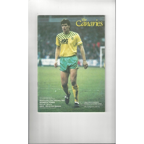 Norwich City v Ipswich Town Zenith Data Semi Final Football Programme 1990/91