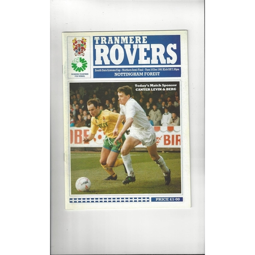 Tranmere Rovers v Nottingham Forest Zenith Data Semi Final Programme 1991/92