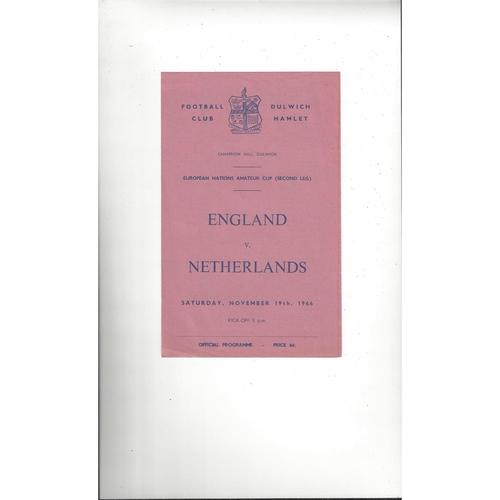 England v Netherlands Amateur International Football Programme 1966 @ Dulwich