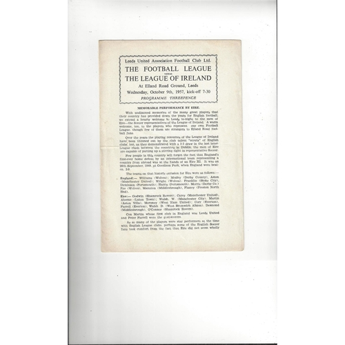 Football League v League of Ireland Football Programme 1957 @ Leeds United