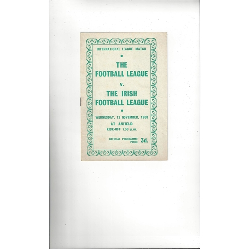 Football League v Irish League Football Programme 1958 @ Liverpool